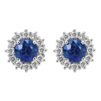 14k white gold sapphire and diamond round halo earrings