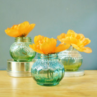 Trio of Round Jar Bud Vases or Candle Holders, Lightly Tinted Glass with Delicate Lace Detailing