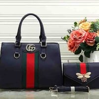 Gucci Women Leather Embroidery Satchel Handbag Shoulder Bag Set Two Piece