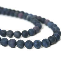 Blue Dumortierite Beads, Matte Finish, 10mm round gemstone bead, HALF strand (954S)