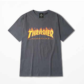 Thrasher Magazine Red Flame Logo Dark Gray & Yellow T-Shirt