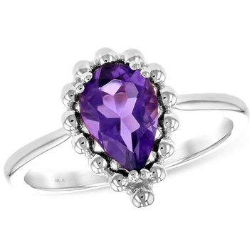 "Ben Garelick Pear Cut Amethyst ""Bubble"" Ring"