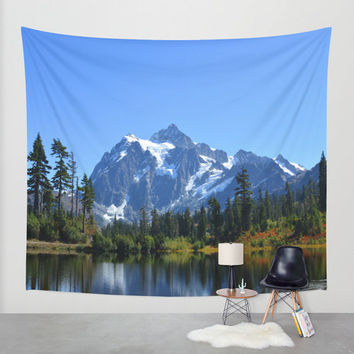 Wall Tapestry - 'Mount Shuksan with Picture lake' - Home Decor - Wall Decor, Modern, Home Warming Gift, Symmetry, Bohemian, Boho, Floral