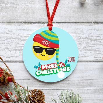 Sunglass Emoji Christmas Ornament