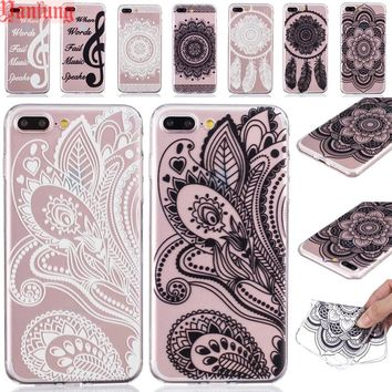 Clear Phone Cases Fundas for iPhone 8 7 6 6S Plus SE 5 5S Henna Floral Paisley Mandala Flowers Dandelion Pineapple TPU Cover
