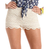 High Waisted Scalloped Lace Short: Charlotte Russe