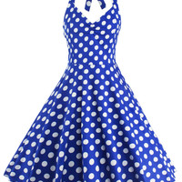 Vintage Halter Neck Polka Dot  Dress