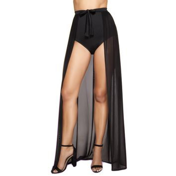 Sheer Open Front Skirt- Black