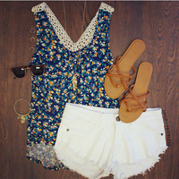 Tiana Floral Top in Navy