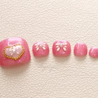 Toe nails, pedicure, hime gyaru, lolita fashion, 3D nails, bows, heart, Japanese nail art