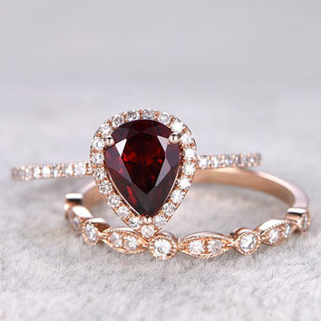 2pcs Garnet Bridal Ring Set Diamond Wedding Band Rose Gold Art Deco Thin Stacking Matching 14k/18k