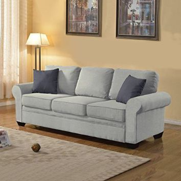 Exclusive Divano Roma Furniture Signature Traditional Design - Soft Linen Sofa in Color Dark Grey, Light Grey, Beige, and Red Includes 2 Accent Pillows (Light Grey)