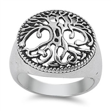 925 Sterling Silver Mother Tree Wicca Ring 17MM