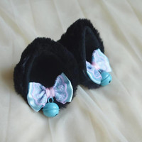 Premade Kitten play clip on cat ears w/ ribbon bows & bell - neko lolita cosplay costume ears - kitten play gear accessories - black/blue