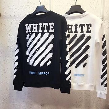 OFF-WHITE Classic Striped Ink Spray Painted Small Yellow Label Round Collar Sweater F-A-KSFZ
