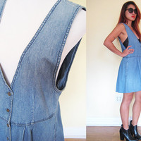 Vintage blue denim jeans vest mini dress school girl lolita button down pleated LL Bean