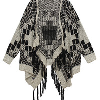 ROMWE Asymmetric Tasseled Geometric Pattern Knit Black Cardigan