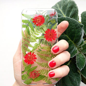 Red flowers phone case | iPhone cover with grass | Dried plants resin case | Gift for sister