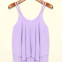 Sleeveless Chiffon Spaghetti Strap Double Layer Pleated Top
