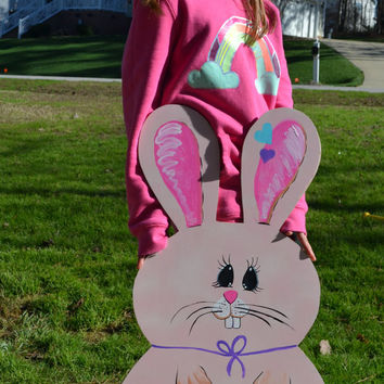 Easter Bunny Yard Art, Easter Bunny Door Hanger, Easter Decoration, Easter Decor - Customization Available, Easter Door Hanger, Yard Art