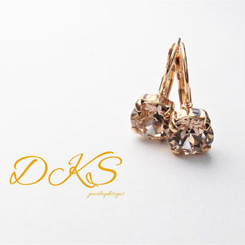 Swarovski 8mm Solitare Lever Back, Drop Earrings, Rose Gold, Silk, Bridal, Everyday, Dangles, DKSJewelrydesigns, FREE SHIPPING