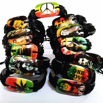 Brand New jewelry 12PCs different mixed black men's and women's Bob Marley Jamaica Reggae Rasta Leather Cuff Bracelets gifts