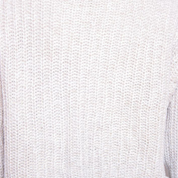 Vintage Tan Woven Knitted Long Sleeve Cropped Turtleneck Sweater