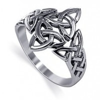 925 Sterling Silver Double Triquetra Celtic Knot Design Ring