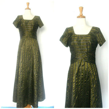 1970s Party Dress / 70s dress / cocktail / metallic dress / long dress / bridesmaid / evening gown / new years / Medium / Large