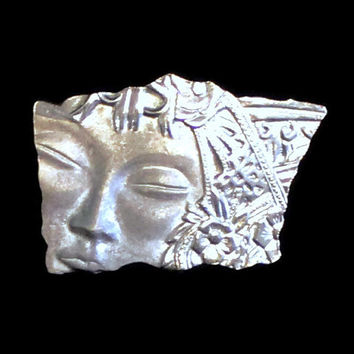 Vintage Art Nouveau Brooch Of Woman's Face In Pewter JJ Brooch