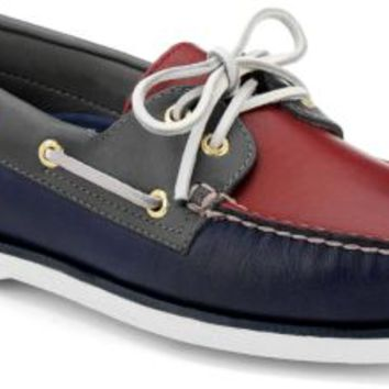 Sperry Top-Sider Gold Cup Authentic Original 2-Eye Boat Shoe Navy/Red/GrayLeather, Size 9M  Men's Shoes
