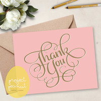 Printable Pink Thank You Card [Instant Download]