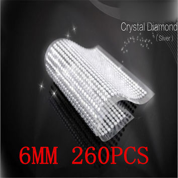 Free shipping 6mm 260pcs/set silver rhinestone The Laptop Skins personalized crystal stickers self adhesive