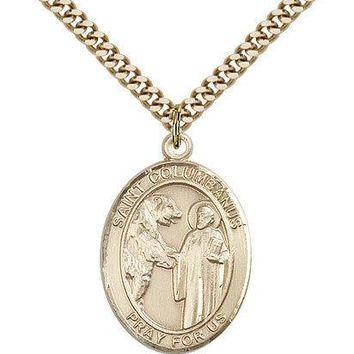 "Saint Columbanus Medal For Men - Gold Filled Necklace On 24"" Chain - 30 Day M... 617759226935"