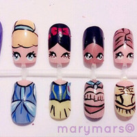 Disney Princess Nail Art by MaryMars on Etsy