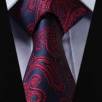 "TF455V8 Navy Blue Red Paisley 3.4"" 100%Silk Wedding Party Jacquard Woven Classic Men Tie Necktie"