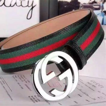 New Gucci Men's Green Red Black Web Leather Belt size 95cm fit 33-34
