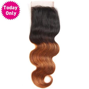 Ombre Brazilian Body Wave Bundles Lace Closure With Baby Hair Two Tone Human Hair Bundles 1b 30 Non Remy Hair
