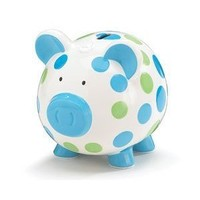 Blue And Green Polka Dot Piggy Bank Adorable Baby/Toddler Gift