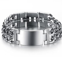 Stainless Steel Silver Watch Shiny Cz Men's Bracelet Bangle
