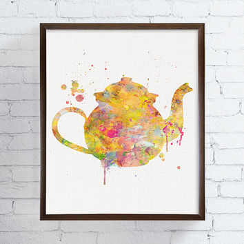 Colorful Teapot Painting, Teapot Print, Kitchen Art, Watercolor Teapot, Kitchen Decor, Kitchen Painting, Kitchen Print, Modern Home Decor