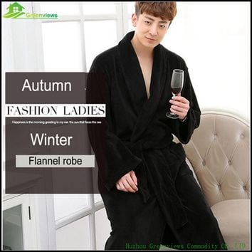1pcs/lot Men bathrobe XL winter thicken long men's robe blanket towel fleece high-end Flannel men winter nightrobe M/XL/XXL