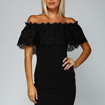 Belkin Black Lace Off Shoulder Dress