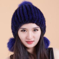 2014 free shipping fashionable lady mink fur hats women cap