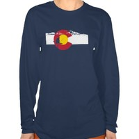 Colorado Flag T-Shirt - Skier - Rocky Mountains