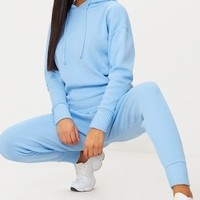 Dusty Blue Hooded Jogger Knitted Lounge Set