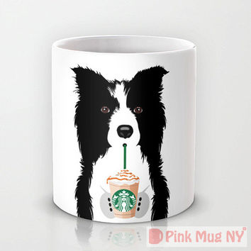 Personalized mug cup designed PinkMugNY- I love Starbucks - Border Collie