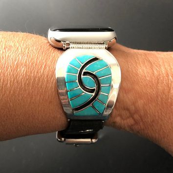 Apple Watch Band 38/40mm 42/44mm Native American Turquoise Vintage Amy Wesley Zuni Silver Silver Inlay Watch Tips Leather Band S1 2 3 4