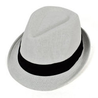 White Fedora with Black Wide Band