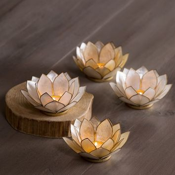Capiz Shell Lotus Tealight Holders